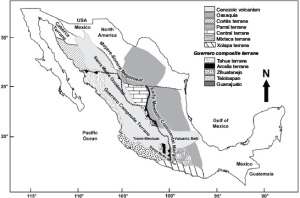 tectono-stratigraphic terranes after centeno 2008